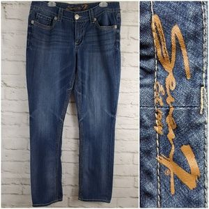 Seven7 Slim Straight Jeans Distressed Pockets 14